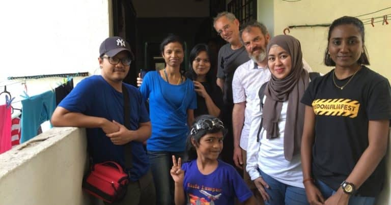 Paymitra (centre) with her mother Aishah (in blue) with the directors and production mentors Sebasian Winkels and Martin Gracineau