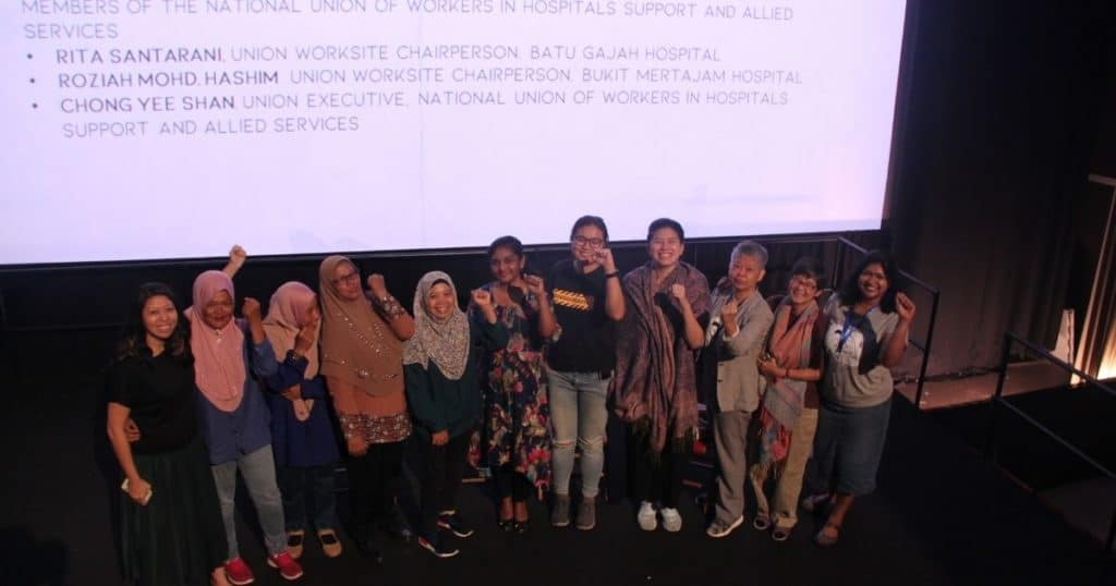 The national hospital service workers labor union leaders with FreedomFilmFest Singapore organisers
