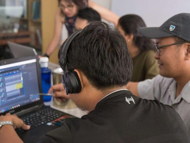 Reviewing audio clips at a sound design workshop